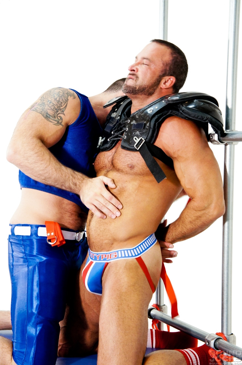 Blindfolded gay hunk subjected to orgy action 5
