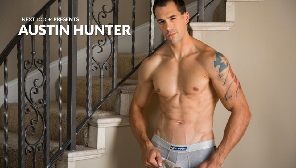 67299 01 01 - Internationally famous fitness model Austin Hunter strips naked and jerks out a full cum load