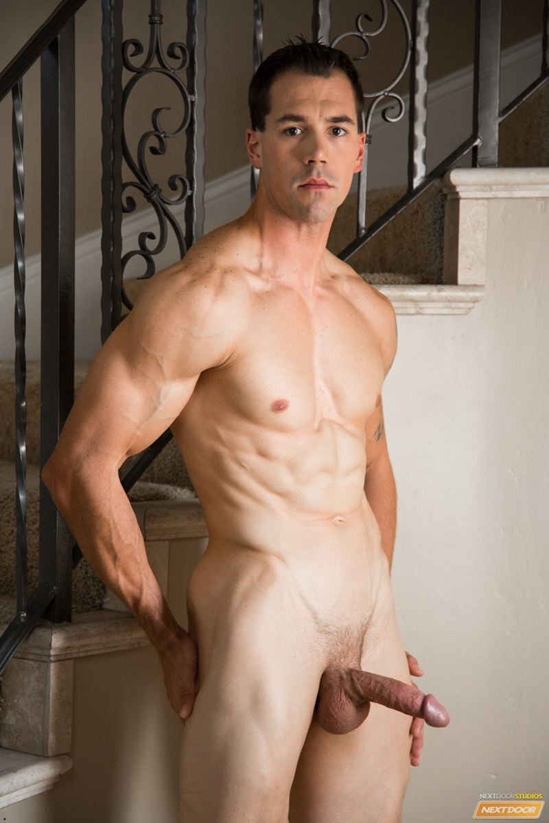 NextDoorMale gay porn sexy nude young ripped dude sex pics Austin Hunter wanks huge cock massive orgasm solo jerkoff 015 gay porn sex gallery pics video photo - Internationally famous fitness model Austin Hunter strips naked and jerks out a full cum load