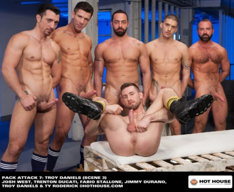Anal fuck orgy with Troy Daniels, Trenton Ducati, Fabio Stallone, Ty Roderick and Josh West all take turns slamming his hot hungry hole!