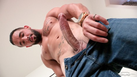 Sexy young stud Zack jerks out a huge cum load