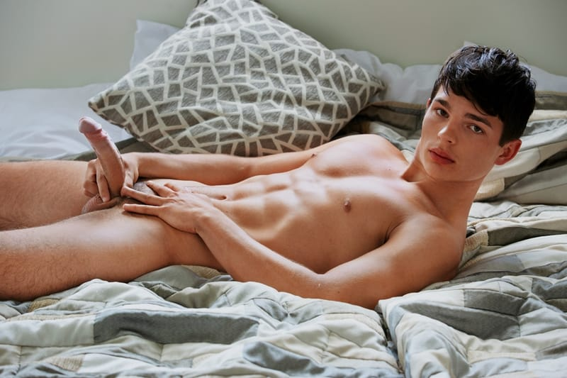 Sexy dark haired young dude Derek Caravaggio strips naked ripped abs big erect dick 001 gayporn pics  - Sexy dark haired young dude Derek Caravaggio strips naked showing off his ripped abs and big erect dick