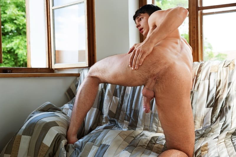 Sexy dark haired young dude Derek Caravaggio strips naked ripped abs big erect dick 005 gayporn pics  - Sexy dark haired young dude Derek Caravaggio strips naked showing off his ripped abs and big erect dick