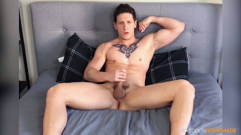 Dalton Riley strips sweaty gym kit white socks jerking huge cock massive spray cum 009 gay porn pics - Dalton Riley strips out of his sweaty gym kit and white socks jerking his huge cock to a massive spray of cum