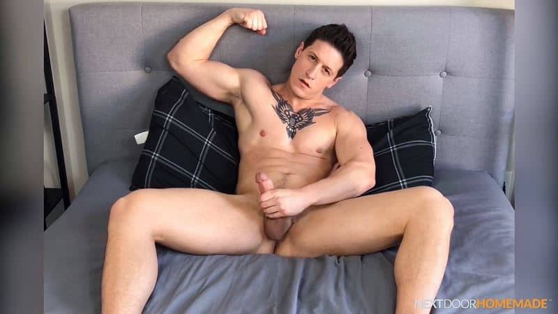 Dalton Riley strips sweaty gym kit white socks jerking huge cock massive spray cum 010 gay porn pics - Dalton Riley strips out of his sweaty gym kit and white socks jerking his huge cock to a massive spray of cum