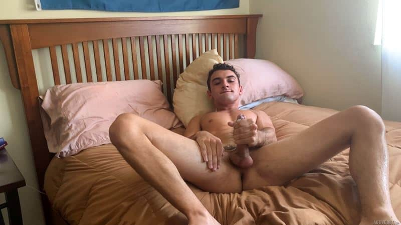 Hot young curly haired dude Daniel Greene strips naked stroking big cock orgasms cum stomach 015 gay porn pics - Hot young curly haired dude Daniel Greene strips naked stroking his big cock till he orgasms cum all over his stomach
