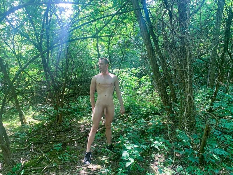 Sexy young stud Trevor Ridge jerks massive cock outdoors forest 006 gay porn pics - Sexy young stud Trevor Ridge's jerks his massive cock outdoors in the forest