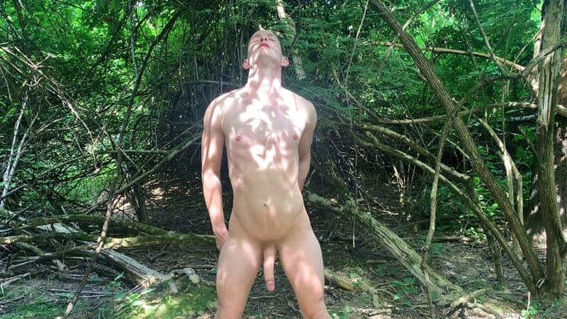 Sexy young stud Trevor Ridge jerks massive cock outdoors forest 008 gay porn pics - Sexy young stud Trevor Ridge's jerks his massive cock outdoors in the forest