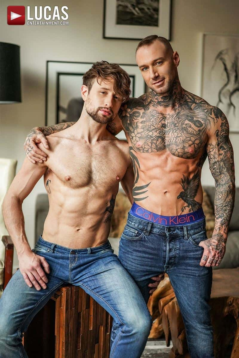 Tattooed muscle hunk Dylan James huge cock bareback fucking Drew Dixon smooth ass hole 003 gay porn pics - Tattooed muscle hunk Dylan James's huge cock bareback fucking Drew Dixon's smooth ass hole