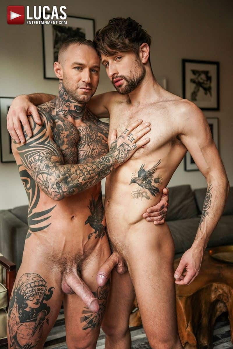 Tattooed muscle hunk Dylan James huge cock bareback fucking Drew Dixon smooth ass hole 007 gay porn pics - Tattooed muscle hunk Dylan James's huge cock bareback fucking Drew Dixon's smooth ass hole
