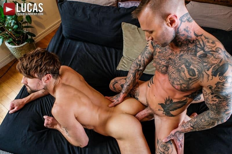 Tattooed muscle hunk Dylan James huge cock bareback fucking Drew Dixon smooth ass hole 021 gay porn pics - Tattooed muscle hunk Dylan James's huge cock bareback fucking Drew Dixon's smooth ass hole