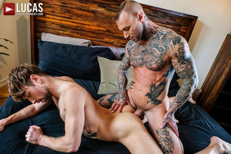 Tattooed muscle hunk Dylan James huge cock bareback fucking Drew Dixon smooth ass hole 022 gay porn pics - Tattooed muscle hunk Dylan James's huge cock bareback fucking Drew Dixon's smooth ass hole