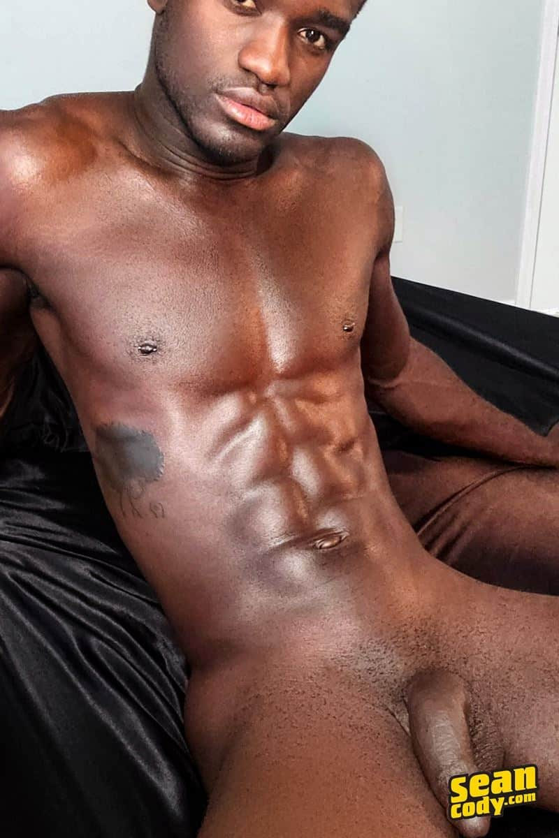 Hottie young black muscle dude Sean Cody Max strips naked jerking his huge ebony dick