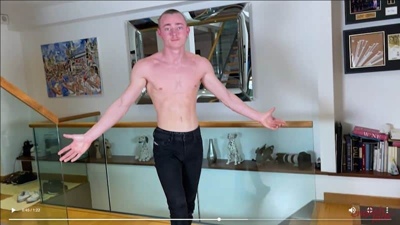 Hot young straight gymnast Caspian Findlater strips naked jerking huge uncut dick massive cum explosion 017 gay porn pics - Hot young straight gymnast Caspian Findlater strips naked jerking his huge uncut dick to a massive cum explosion