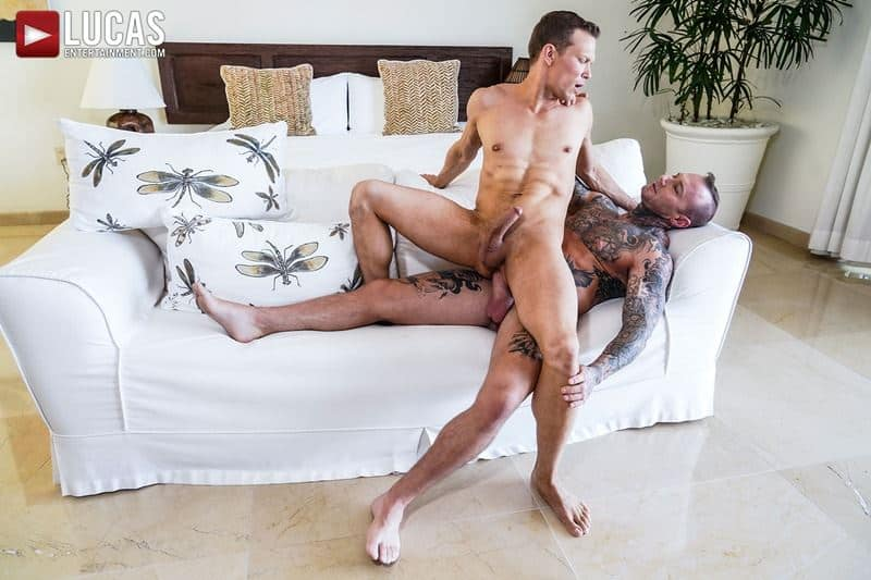 Sexy tattooed muscle hunk Dylan James huge 9 inch cock bare fucks muscled stud Ethan Chase hot hole 011 gay porn pics - Sexy tattooed muscle hunk Dylan James's huge 9.5 inch cock bare fucks muscled stud Ethan Chase's hot hole