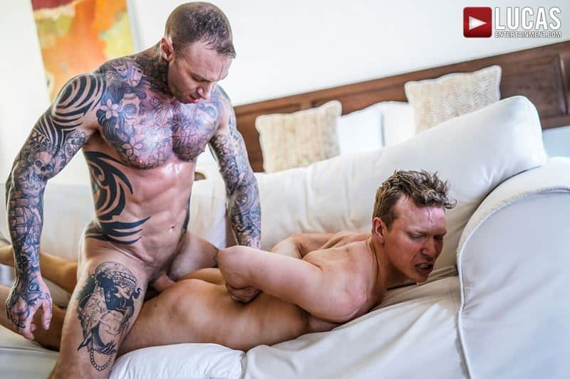 Sexy tattooed muscle hunk Dylan James huge 9 inch cock bare fucks muscled stud Ethan Chase hot hole 018 gay porn pics - Sexy tattooed muscle hunk Dylan James's huge 9.5 inch cock bare fucks muscled stud Ethan Chase's hot hole