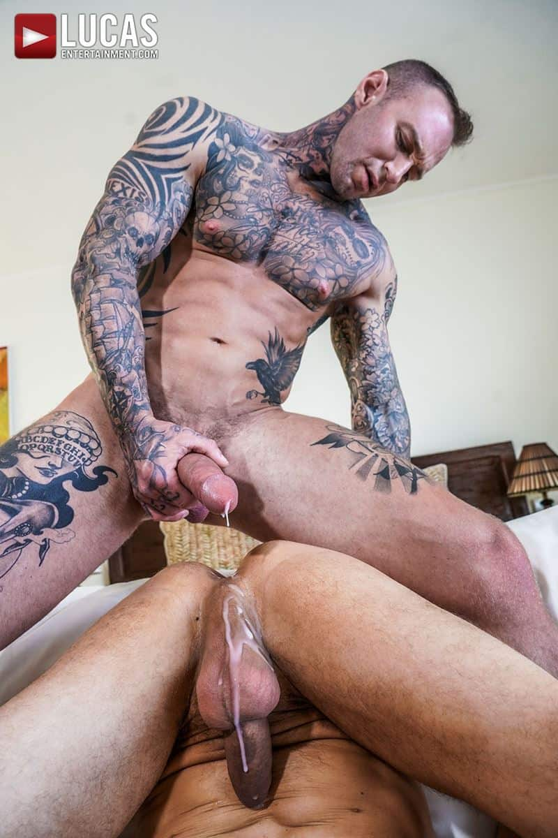 Sexy tattooed muscle hunk Dylan James huge 9 inch cock bare fucks muscled stud Ethan Chase hot hole 024 gay porn pics - Sexy tattooed muscle hunk Dylan James's huge 9.5 inch cock bare fucks muscled stud Ethan Chase's hot hole
