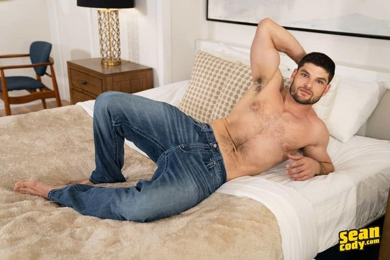 Sexy young hairy chested muscle hunk Sean Cody Phillip strips out of his sexy underwear jerking his big thick dick